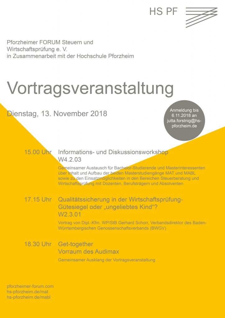 Vortrags- und Informationsveranstaltung des Pforzheimer Forums am 13. November 2018